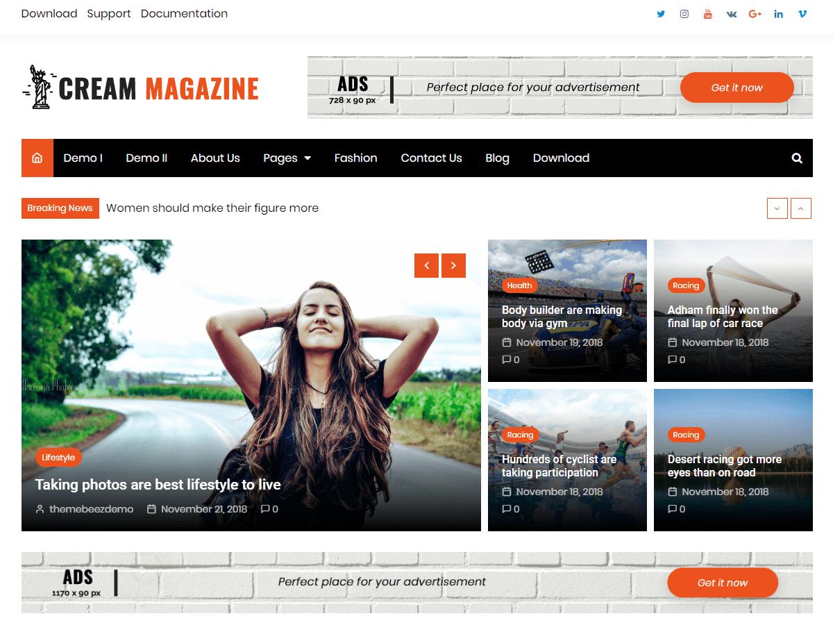 Cream Magazine adalah tema WordPress berita