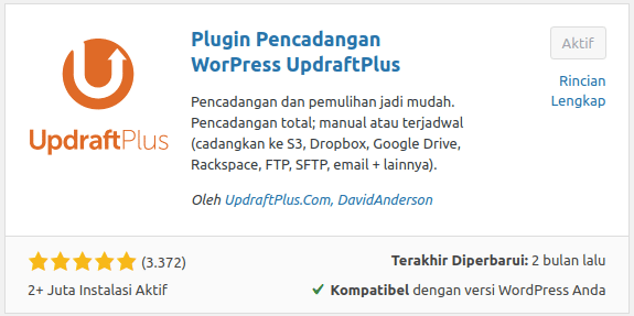 Updraft Plus Plugin Backup WordPress terbaik